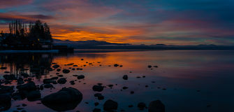 Sunrise on North Lake Tahoe. A beautiful sunrise captures from Kings Beach California royalty free stock image