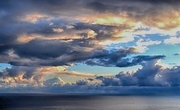Sunrise North Sea cloudscape. A spectacular sunrise looking south east from the village of Levenwick in the Shetland Islands Stock Photography