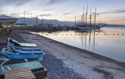 Sunrise at the northern beach of Eilat Royalty Free Stock Photos