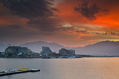 Sunrise on northern beach of Eilat, Israel Stock Images