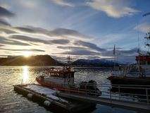 Sunrise in norway fjord stock photography