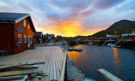 Sunrise on Norwegian island Stock Images
