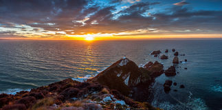 Sunrise at Nugget Point, The Catlins, New Zealand. Royalty Free Stock Images