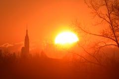 Sunrise, New York City, NYC, NY from NJ New Jersey. Royalty Free Stock Photography