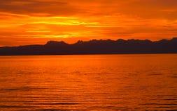 Sunrise in Nyon Switzerland lake clouds. Sunrise, Geneve lake, Swiss sunrise Royalty Free Stock Photography