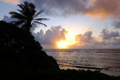 Sunrise in Oahu, Hawaii Royalty Free Stock Photography