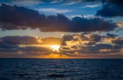 Sunrise at ocean. Sunrise at Atlantic ocean. View from sailing boat between Canarian islands Royalty Free Stock Image