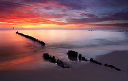 Sunrise on ocean - baltic Royalty Free Stock Photos