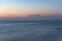 Sunrise on the ocean beach. Colorful of sunrise on the ocean beach Stock Photo