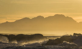 Sunrise on the ocean. Cape Town. False Bay. South Africa. An excellent illustration Royalty Free Stock Photography
