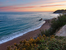 Sunrise ocean coast landscape (Bay of Biscay). Royalty Free Stock Photography
