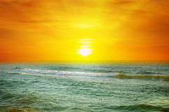Sunrise on the ocean. Fantastic sunrise on the ocean Royalty Free Stock Photo