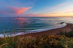 Sunrise ocean view from beach. Sunrise ocean coast view from beach near Saint-Jean-de-Luz, France, Bay of Biscay Stock Image