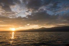 Sunrise and ocean view on paradise Lovina Beach - Bali, Indonesi Stock Image