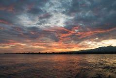 Sunrise and ocean view on paradise Lovina Beach - Bali, Indonesi Stock Photo