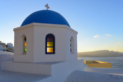 Sunrise at Oia with beautiful church , Santorini Stock Photos