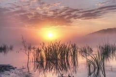 Sunrise on the Oka River. Early morning on the Oka river in the Kaluga region, Russia Stock Photos