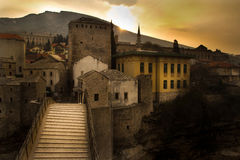 Sunrise on the Old Bridge. In Mostar stock photography