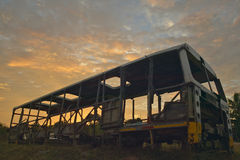 Sunrise on old deserted bus in El Rincon, Cuba Royalty Free Stock Photography