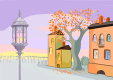 Sunrise in old town. A colorful illustration of a sunrise in a retro town Stock Photography