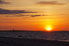 Sunrise at Orient Point. Sunrise and Orient Point Lighthouse located at Orient Point, Long Island, New York Stock Images
