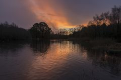 Sunrise at the Ornamental Pond, Southampton Common royalty free stock photo