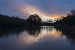 Sunrise at the Ornamental Pond, Southampton Common stock photography