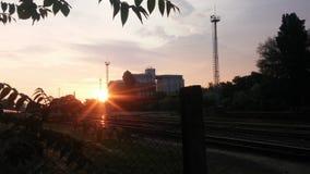 Sunrise. Orosháza, old mill in the background Stock Images
