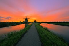 Free Sunrise Over A Dutch Landscape Royalty Free Stock Photography - 129577137