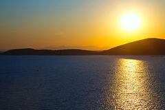 Sunrise over Aegean sea Royalty Free Stock Images