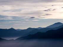 Beautiful Sunrise over Alishan with sunrays Stock Images