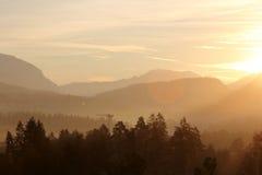 Sunrise over Alps Stock Photo