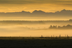 Sunrise over the alps, Bavaria, Germany Royalty Free Stock Image