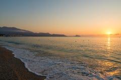 Sunrise over Altea beach stock images