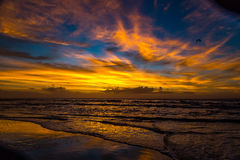 Sunrise over Amelia. The sun rises at the beach on a cloudy morning over Amelia Island, Florida stock images