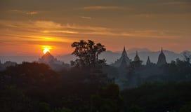 Sunrise over ancient Bagan, Myanmar Stock Photos