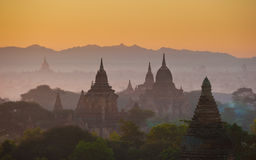 Sunrise over ancient Bagan, Myanmar Stock Images
