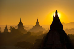 Sunrise over ancient Bagan, Myanmar Royalty Free Stock Photography