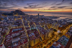 Sunrise over the ancient city of Alicante in Spain Royalty Free Stock Photos