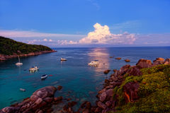 Sunrise over the Andaman Sea. Similan's island, Thailand Stock Photos
