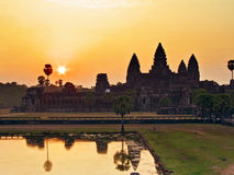 Sunrise over Angkor Wat Royalty Free Stock Images