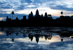 Sunrise over Angkor Wat in Cambodia. Royalty Free Stock Images