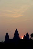 Sunrise over Angkor Wat temple Royalty Free Stock Image