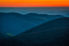 Sunrise over the Appalachian Mountains, seen from Skyline Drive Royalty Free Stock Photo