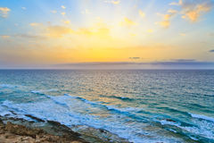 Sunrise over Atlantic ocean. Fuerteventura Stock Image
