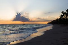 Sunrise over Atlantic ocean, Bavaro Beach Stock Image