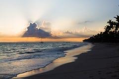 Sunrise over Atlantic ocean, Bavaro Beach Stock Image