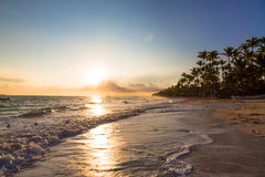 Sunrise over Atlantic ocean on Bavaro Beach Royalty Free Stock Photography