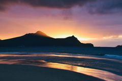 Sunrise over the Atlantic Ocean from the beach at Vila Baleria, Porto Santo Island royalty free stock images