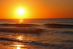 Sunrise over the Atlantic Ocean. Brilliant sunrise over the Atlantic Ocean Royalty Free Stock Image
